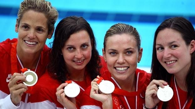 Da esq. à dir.: Dara Torres, Rebecca Soni, Natalie Coughlin e Christine Magnuson em 2008
