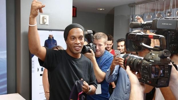 Ronaldinho Gaúcho durante evento em Nova Iorque