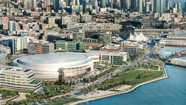 Vista aérea do projeto do Chase Center, nova casa dos Warriors