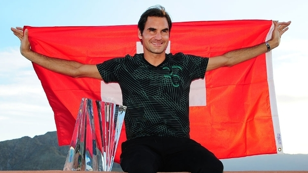 Roger Federer após a conquista do título do Masters 1.000 de Indian Wells