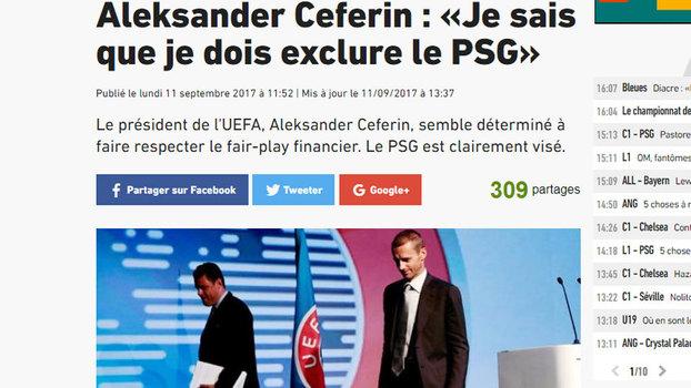 Uefa desmente que excluirá PSG de competições europeias