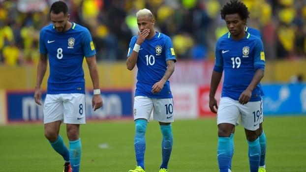 Renato Augusto, Neymar e Willian após a partida contra o Equador