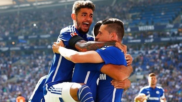 Junior Caiçara Julian Draxler Comemoram Gol Schalke Darmstadt Campeonato Alemão 22/08/2015