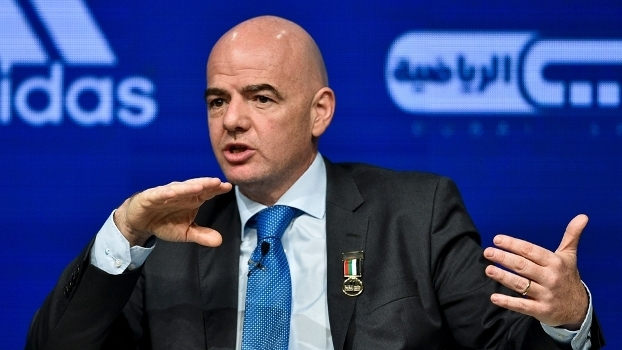 Gianni Infantino, presidente da Fifa, durante evento