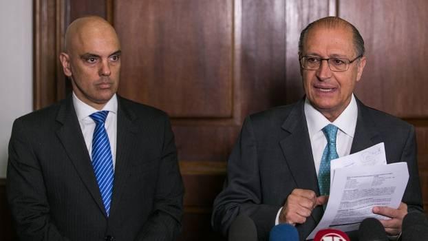Alexandre Moraes, secretário de Segurança Pública de São Paulo, e o governador Geraldo Alckmin
