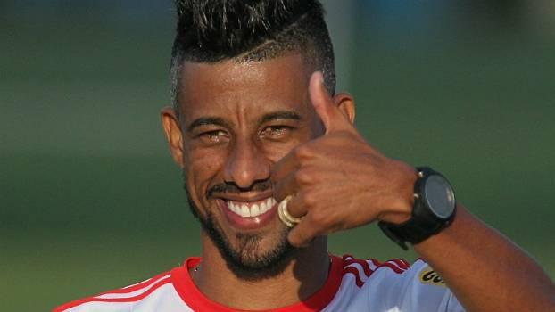 Léo Moura durante seu último treinamento pelo Flamengo, no Ninho do Urubu