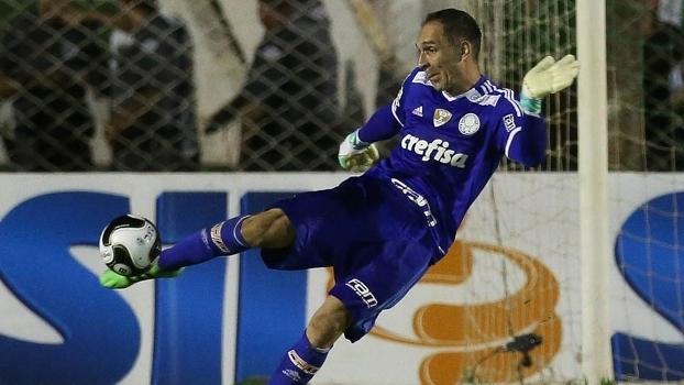 Fernando Prass durante jogo do Palmeiras contra Oeste