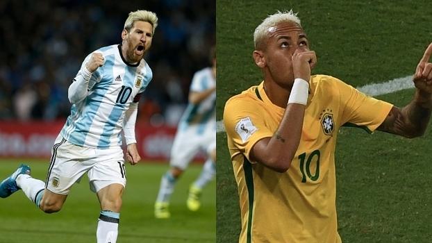 Messi e Neymar  companheiros de Barcelona são rivais em Brasil x Argentina c3fec3a667032