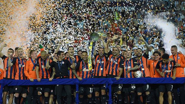 Jogadores do Shakhtar comemoram título da Supercopa da Ucrânia