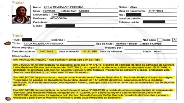 Ficha de associação de Leila obtida pelo UOL Esporte: Mustafá pediu mudança de data