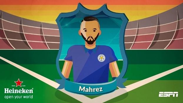 Mahrez foi eleito o melhor o campo pelos fãs de esporte