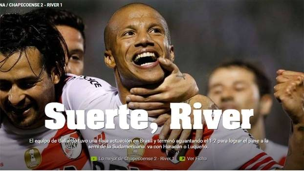Jornal argentino disse que River Plate deu sorte contra a Chapecoense