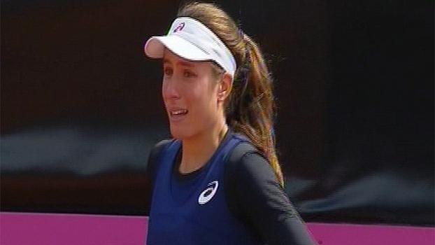 Johanna Konta foi às lágrimas em confronto entre Grã-Bretanha e Bélgica na Fed Cup