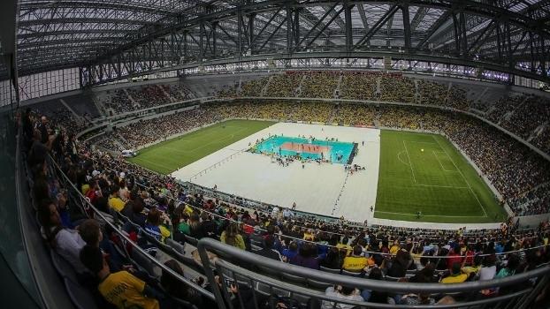 Arena da Baixada recebeu jogo de vôlei Brasil x Portugal no fim do ano passado: mais de 37 mil espectadores