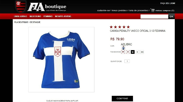 53a3bdaf06 Loja do Flamengo coloca camisa do Vasco à venda na internet | Blogs ...