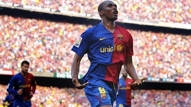Samuel Eto o Comemora Gol Barcelona Villarreal Campeonato Espanhol  10 05 2009 b125a3813a70b