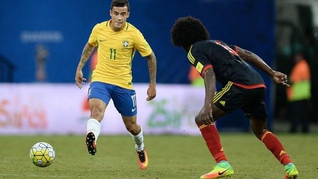 Philippe Coutinho em ação pelo Brasil contra a Colômbia em Manaus
