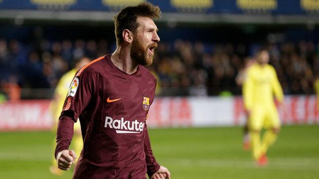 Messi comemora gol contra o Villarreal, neste domingo
