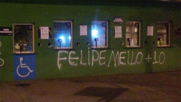 Nova derrota do Palmeiras motiva pichações nos muros do Allianz Parque