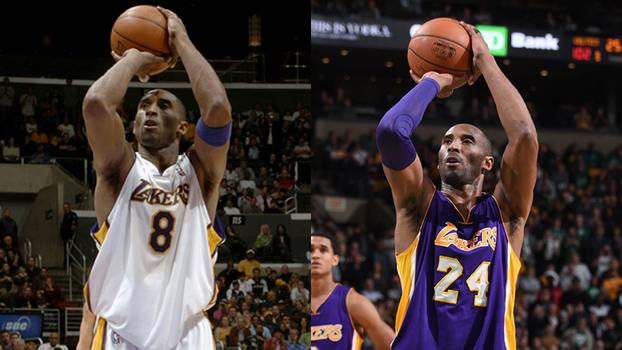 Kobe Bryant imortalizou os números 8 e 24 no Los Angeles Lakers
