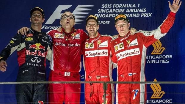Pódio no GP de Cingapura: Vettel, Ricciardo e Raikkonen