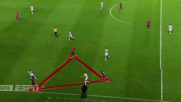 70d28c21b4 San Lorenzo projeta três jogadores pelo lado do campo e tenta a  triangulação para progredir no