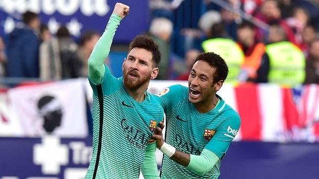 Messi comemora seu gol com Neymar, o da vitória do Barça sobre o Atlético