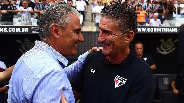 Tite e Edgardo Bauza, antes de Corinthians x São Paulo, pelo Paulista de 2016
