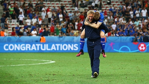 Heimir Hallgrimsson Comemora Vitoria Islandia Inglaterra Euro-2016 27/06/2016