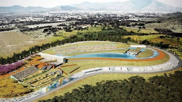 O Estádio de Canoagem Slalom, com a pista de BMX ao lado, fazem parte do Parque Radical