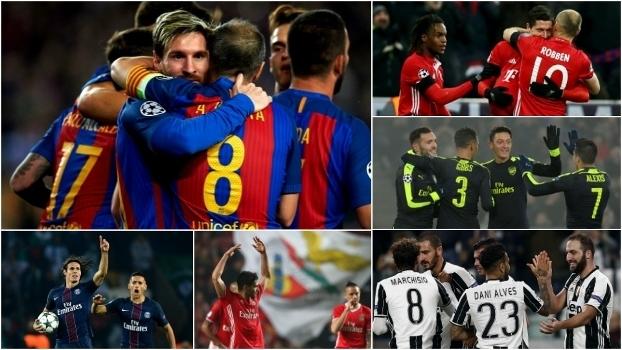 Barça, Bayern, Arsenal, Juve, PSG e Benfica; seis países estarão nas oitavas da Champions