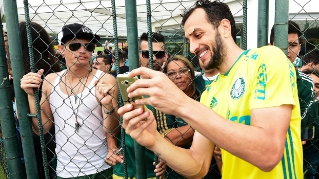 Edu Dracena Selfie Treino Palmeiras 25/11/2016
