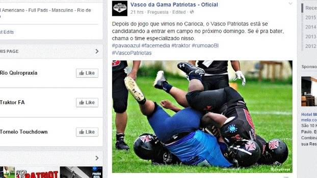 Vasco da Gama Patriotas postou mensagem no Facebook nesta segunda-feira ce1a34ba02db7