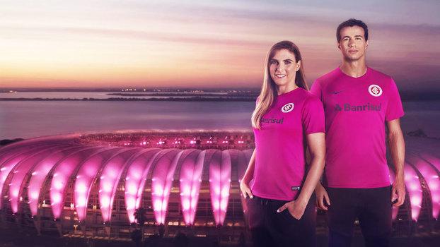 01bb214176 Internacional lança camisa rosa por campanha de prevenção ao câncer ...