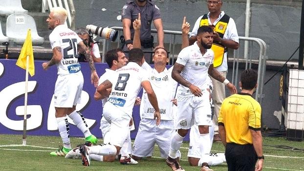 Ricardo Oliveira comemora gol do Santos na vitória sobre o Corinthians no Paulista