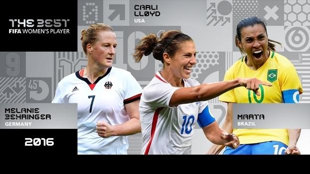 Melanie Behringer, Carli Lloyd e Marta: as finalistas para o prêmio de melhor jogadora de 2016