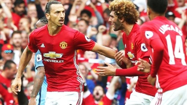 Ibrahimovic Comemora Gol Manchester United Manchester City Campeonato Ingles 10/09/2016