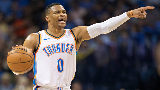 Russell Westbrook durante partida do Oklahoma City Thunder contra o Indiana Pacers
