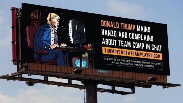 Outdoor divulgado em 2016 acusando Donald Trump de ser um 'Hanzo Main'