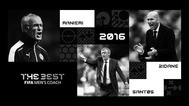 Ranieri, Zidane e Fernando Santos: finalistas para o prêmio de melhor técnico de 2016