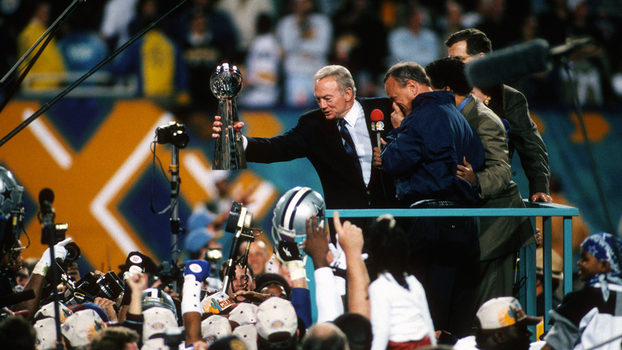 Jerry Jones, dono do Dallas Cowboys, após conquista do Vince Lombardi no Super Bowl XXX