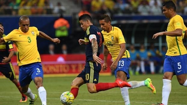 James Rodríguez finaliza no confronto Colômbia x Brasil