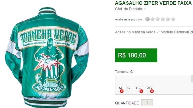 6abf79ec9f Agasalho vendido pela Mancha Alviverde com o escudo do Palmeiras