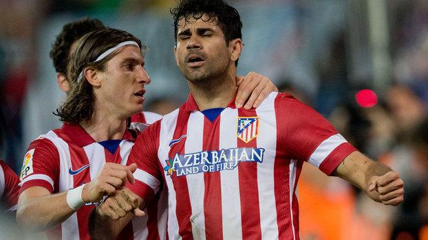 Filipe Luis e Diego Costa nos tempos de Atlético de Madri em 2014