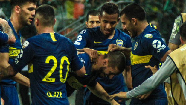 Jogadores do Boca comemoram no Allianz Parque e7c596367d8b7