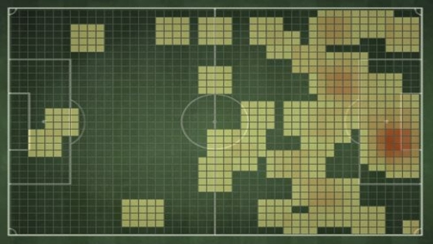 Mapa de calor do caminho dos gols do Timão marcados durante o estadual