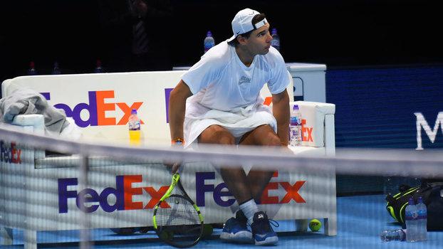 Rafael Nadal durante treino em Londres para o ATP Finals