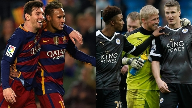 Barcelona e Leicester City, os líderes dos campeonatos Espanhol e Inglês, respectivamente