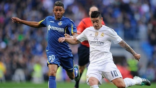 Wanderson (à esquerda) enfrentou Real Madrid pelo Getafe