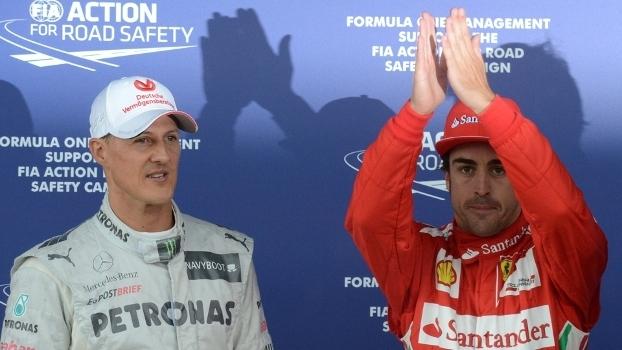 Em recuperação, Schumacher recebeu elogios do antes rival Alonso